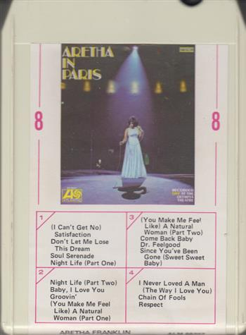 Aretha Franklin Aretha In Paris Live 8 Track Tape Cartridge