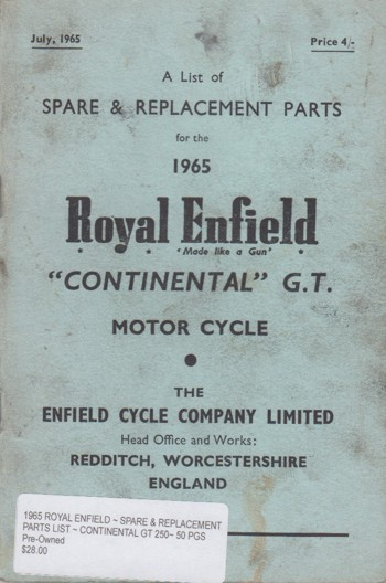 PARTS LIST ~ CONTINENTAL GT 250~ 50 PGS