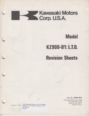 KZ900-B1 LTD Revision Sheets