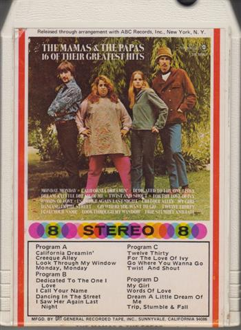 The Mamas & The Papas - 16 Of Their Greatest Hits 8 track tapes