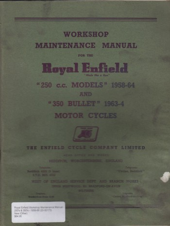 Royal Enfield Workshop Maintenance Manual - 250's & 350's - 1958-66
